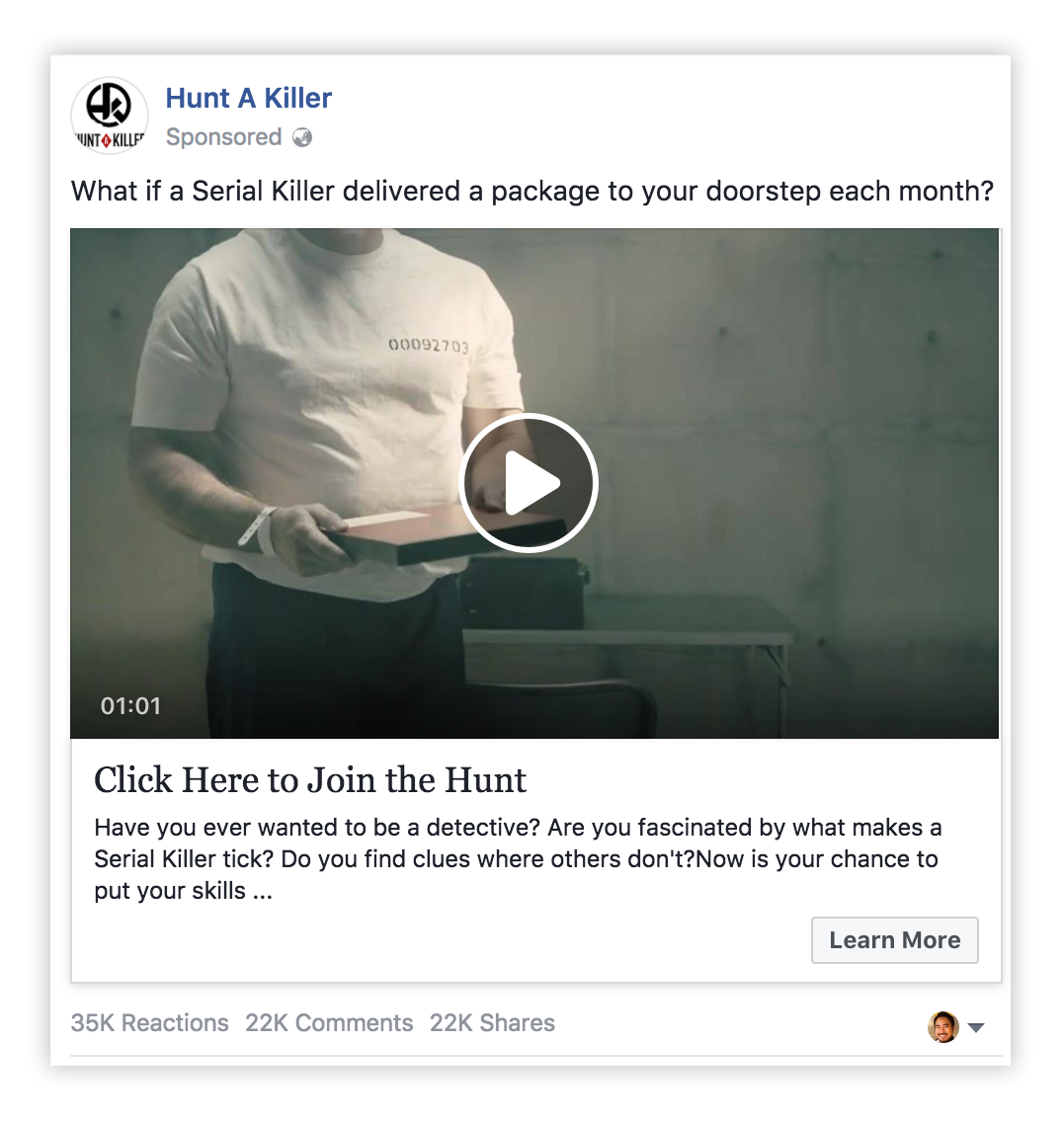 Hunt a Killer facebook video ad
