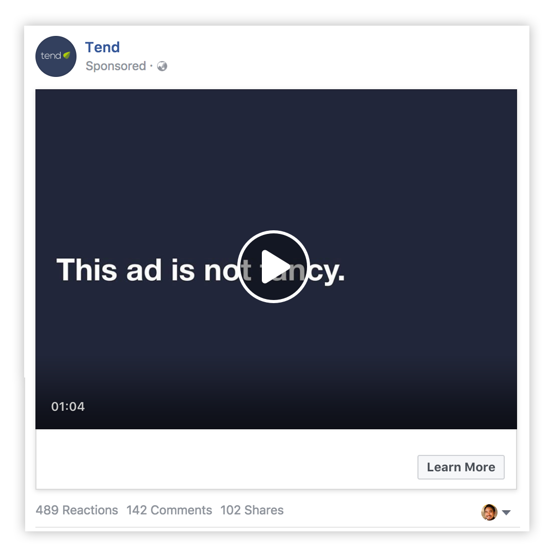 Text based facebook ad