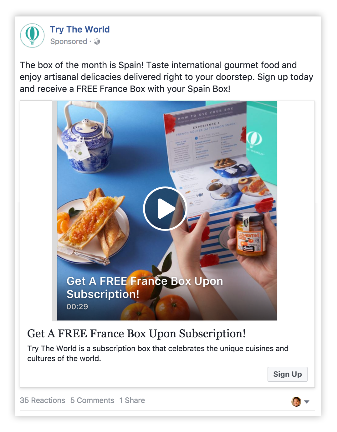 Try the world facebook video ad