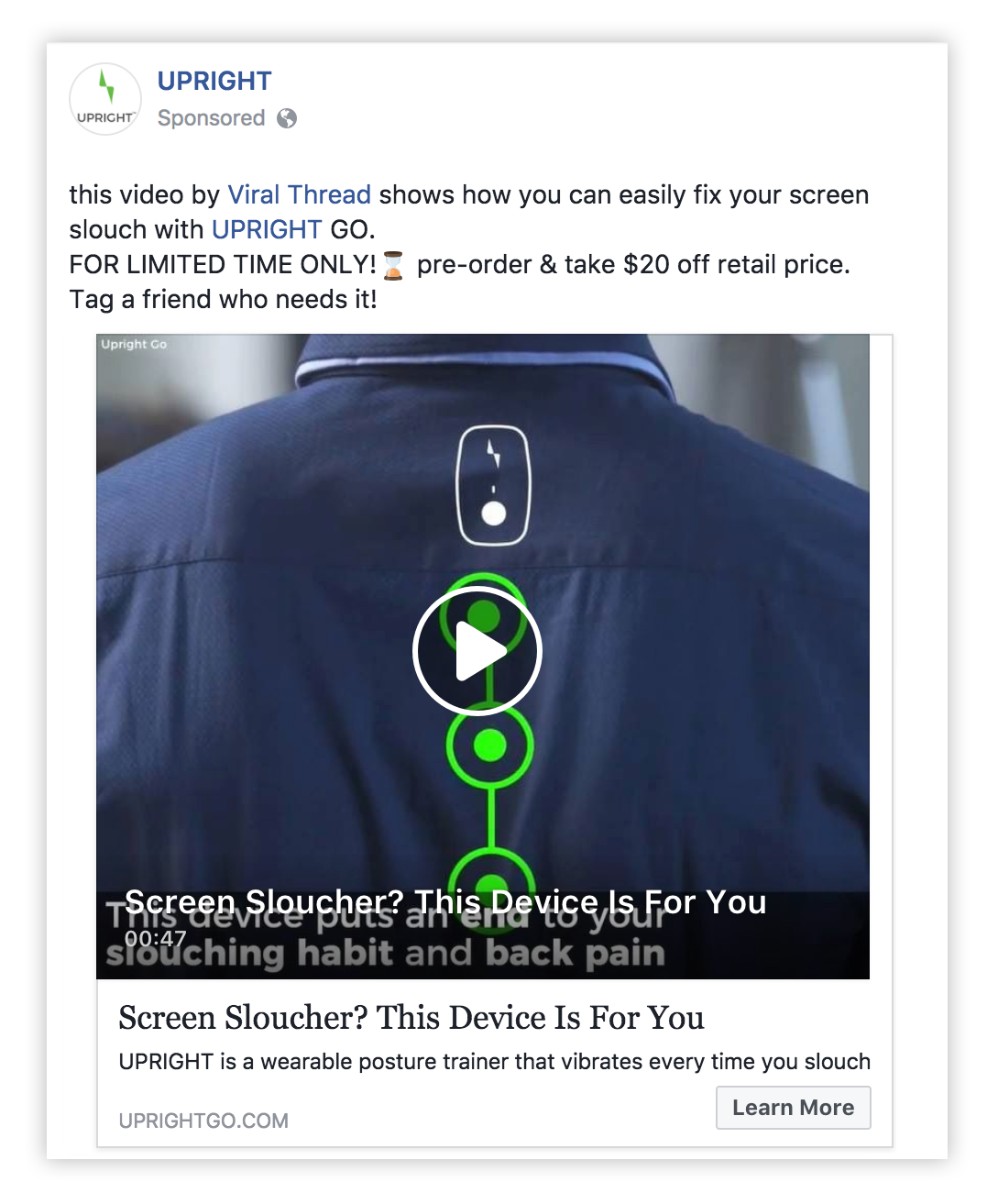 Upright facebook ad example