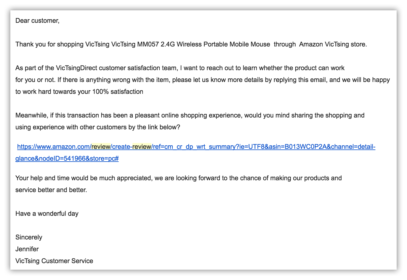 Amazon email follow up