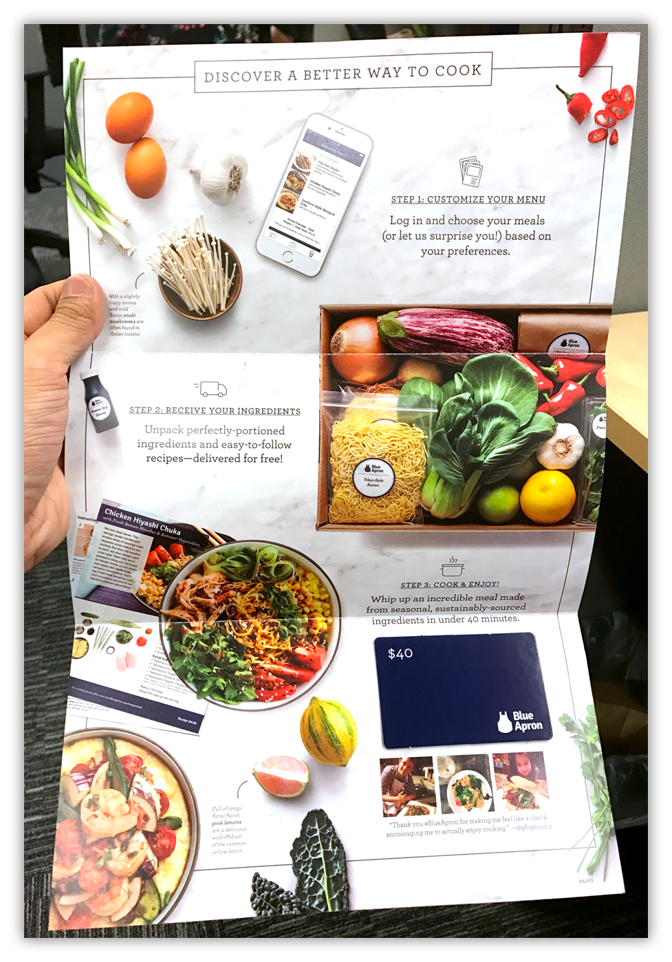 Blue Apron's direct mail piece