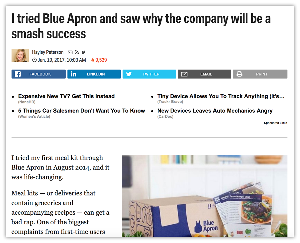 Blue Apron Native Ads - landing page