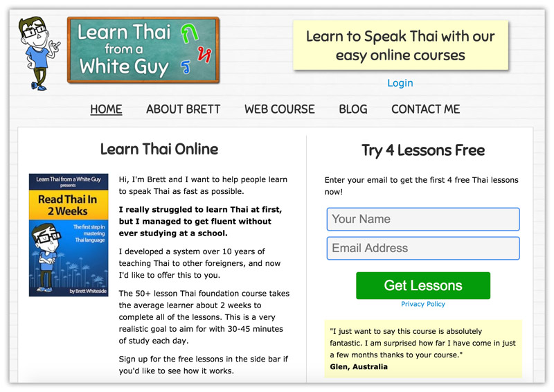 Landing page from AdWords