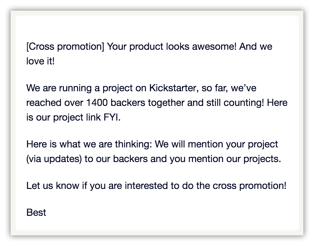 Kickstarter cross promotions